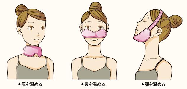 喉を温める/鼻を温める/顎を温める